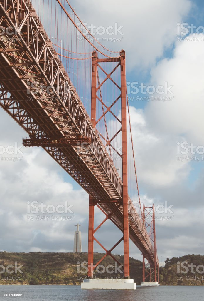 Close-up view of Bridge of 25th april in Lisbon. stock photo