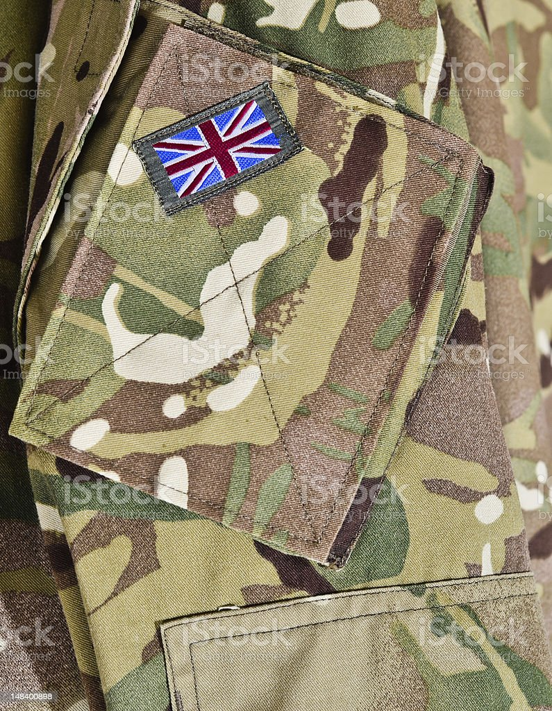Close-up view of British Army uniform detail stock photo