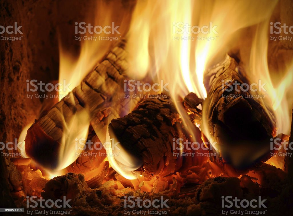 Closeup view of burning billets stock photo