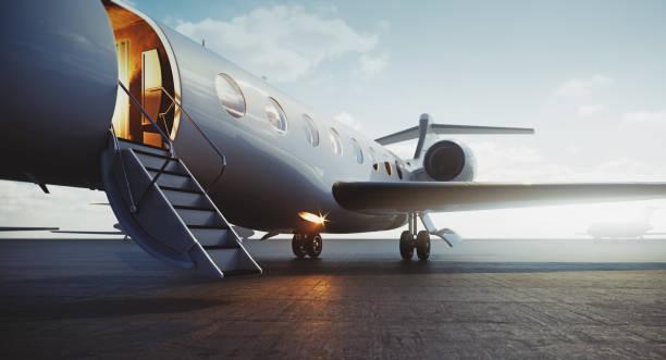 외부에 주차하고 vip 를 기다리는 비즈니스 제트 비행기의 클로즈업 보기. 럭셔리 관광 및 비즈니스 여행 교통 개념입니다. 3d 렌더링. - 복엽기 뉴스 사진 이미지