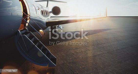 Closeup view of business jet airplane parked at outside and waiting vip persons. Luxury tourism and business travel transportation concept. Flares. 3d rendering