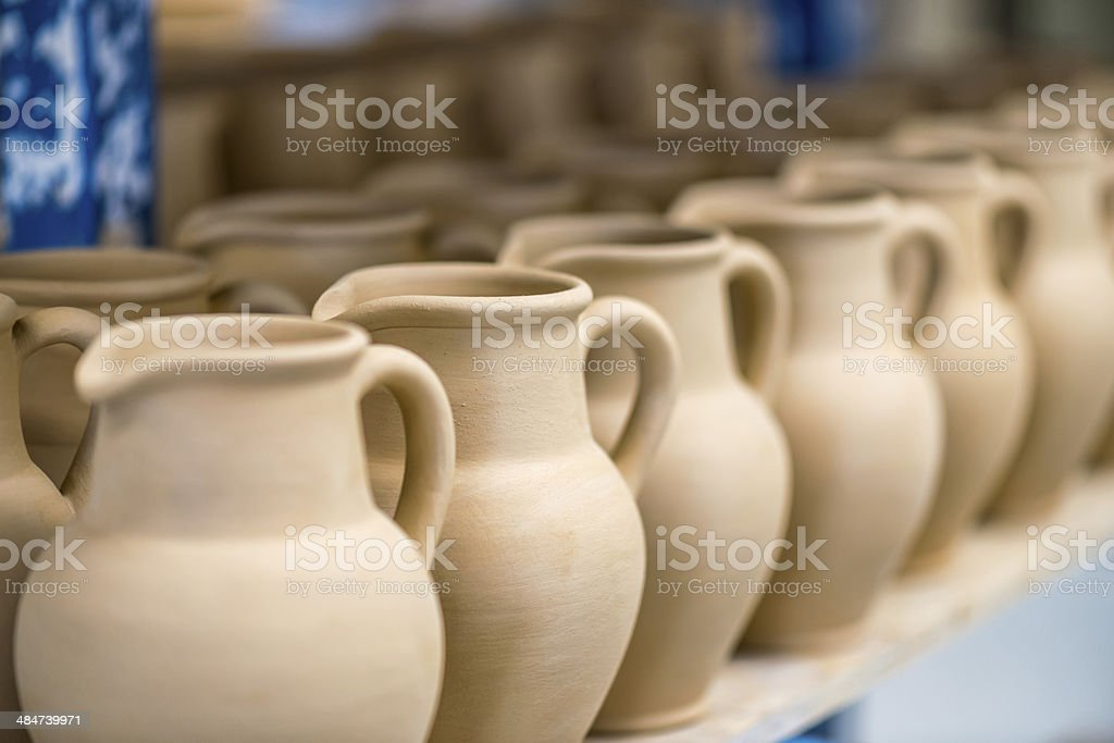Close-up view of ceramic dishware stock photo