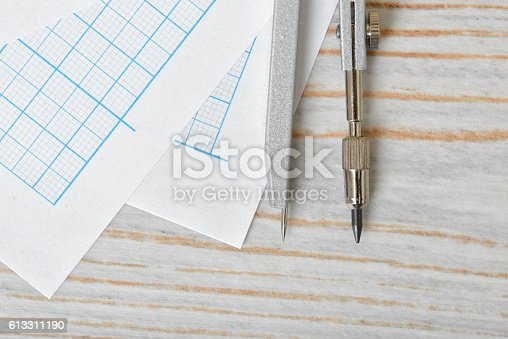 613651130 istock photo Close-up view of compass on graph paper 613311190