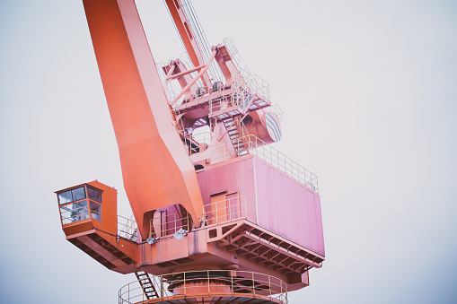 Close-up view of crane