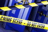 Crime scene investigation police boundary tape at the scene of a break in and burglary