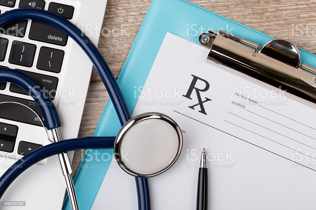 Close-up view of doctor's working table stock photo