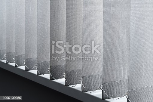 istock Close-up view of fabric curtain made of dense fabric in the corpora office. Textured abstract backgrounds and wallpapers. Materials and textiles 1090109950