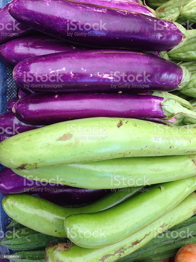 Closeup view of fresh eggplant stock photo