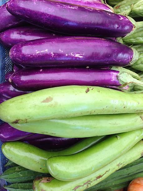 Closeup view of fresh eggplant stock photo