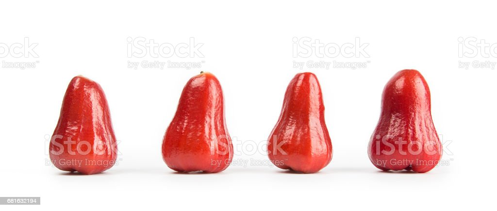 close-up view of fresh wax apple isolated on white background. stock photo