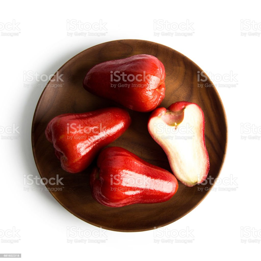 close-up view of fresh wax apple isolated on white background. Top view of jambu air isolated stock photo