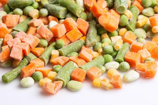 Closeup view of frozen vegetables assortment