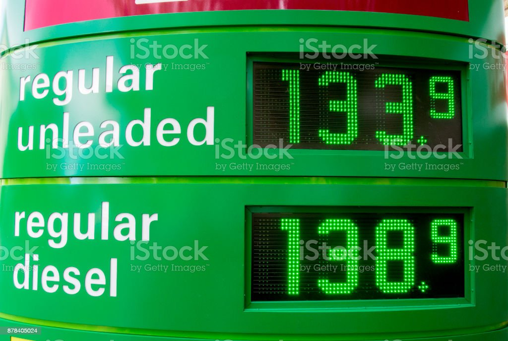 Close-up view of gasoline, fuel pump display with gas prices. stock photo