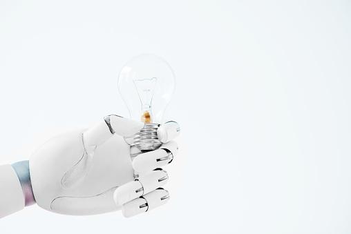 흰색 절연 전구를 들고 로봇의 손 클로즈업 보기 0명에 대한 스톡 사진 및 기타 이미지