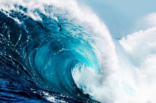 Close-up view of huge ocean waves