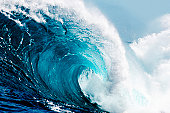 Close-up view of huge ocean waves