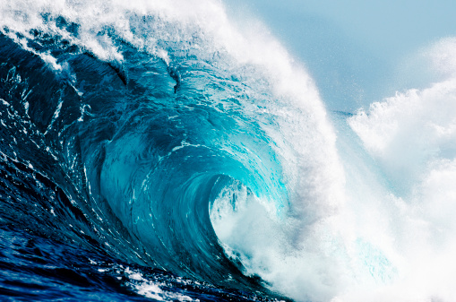 Closeup View Of Huge Ocean Waves Stock Photo - Download Image Now