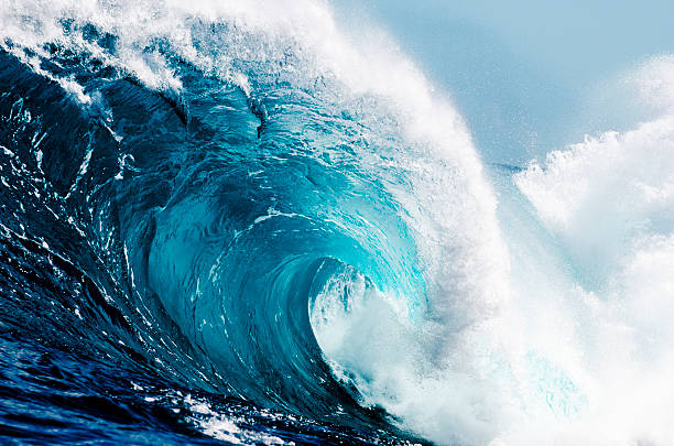 close-up view of huge ocean waves - wave stock photos and pictures