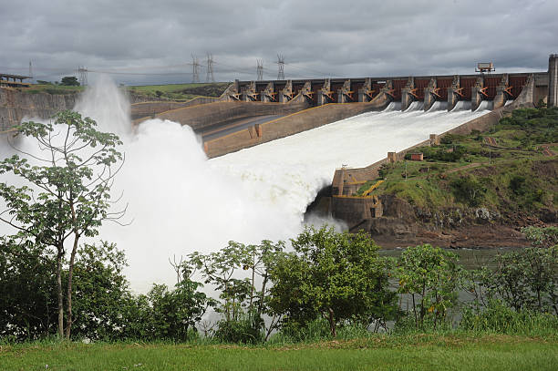 Close-up view of hydroelectric power dam of Itaipu stock photo