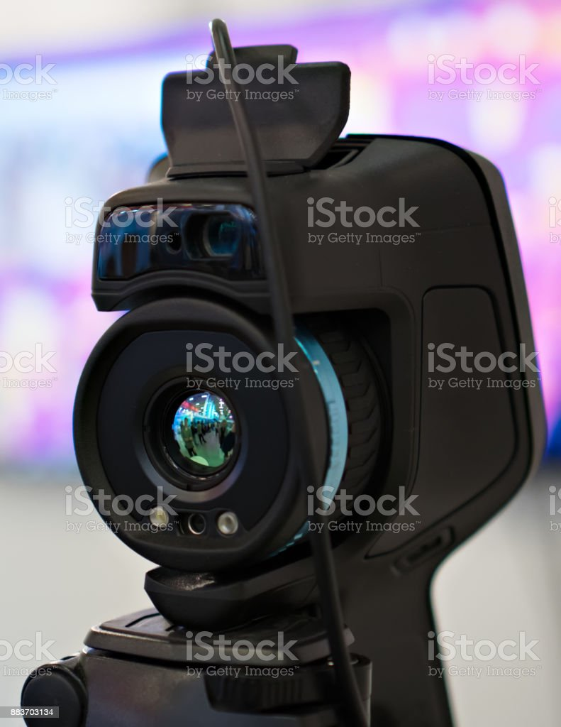 Close-up view of Infrared industrial camera. stock photo