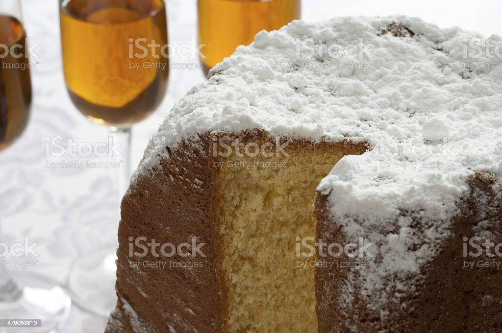 Close-up view of Italian Pandoro and Wine royalty-free stock photo