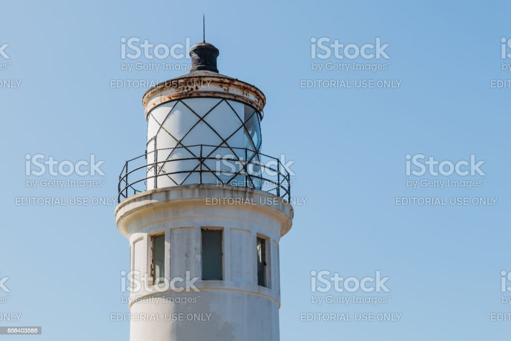 Close-Up View of Lantern Room of Point Vicente Lighthouse stock photo