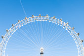 London, UK - June 22, 2018: Closeup view of London Eye center with wires isolated against blue sky ferris wheel spinning