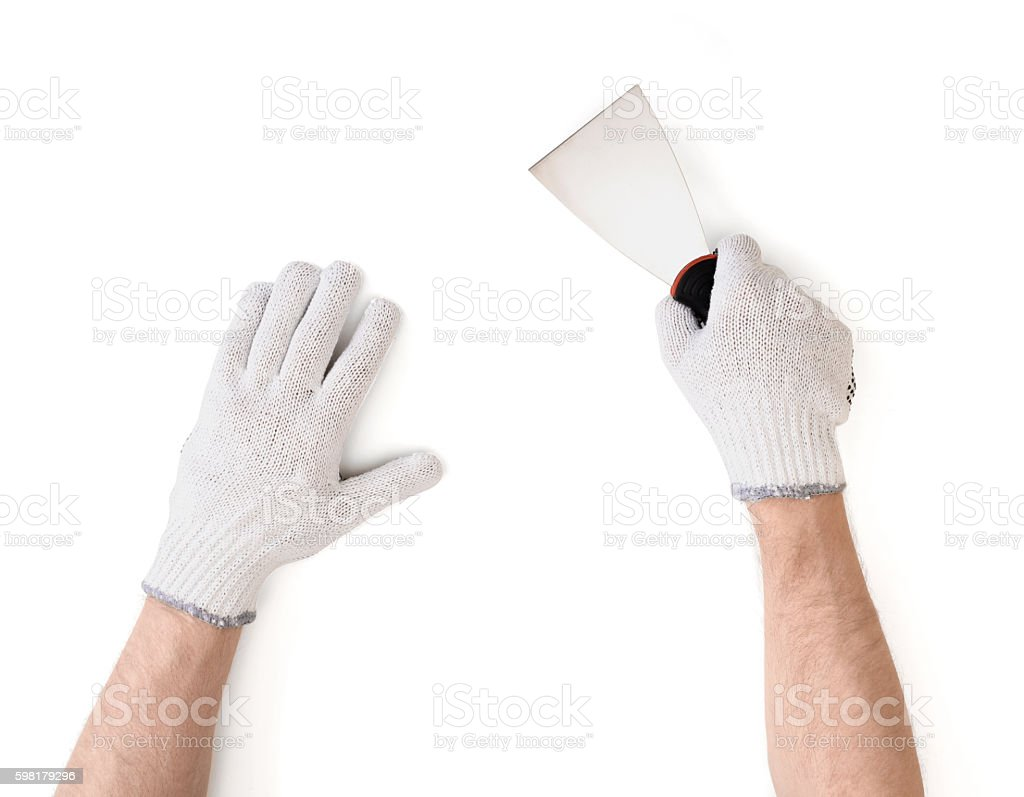 Close-up view of man's hands in white cotton stock photo