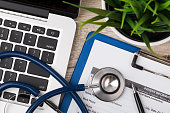 istock Close-up view of medical doctor's working table 532959788