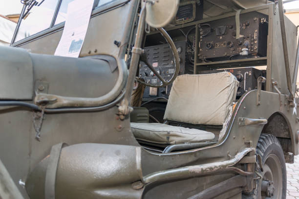 Closeup View of Military Car's Interiors for Radio Communications from World War II Parma, Italy - february 2016: Closeup View of Military Vehicle's Interiors for Radio Communications from World War II willys stock pictures, royalty-free photos & images