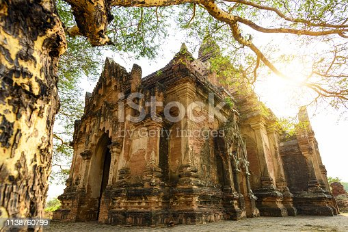 Close-up view of one of the many temples in Bagan (formerly Pagan) during sunset. A beautiful tree frames the picture with its trunk. The Bagan Archaeological Zone is a main attraction in Myanmar.