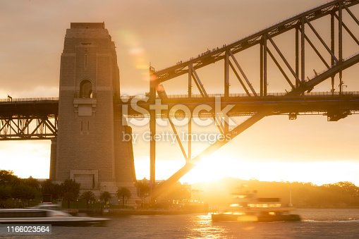 istock Close-up view of people climbing the Sydney Harbour Bridge at sunset 1166023564