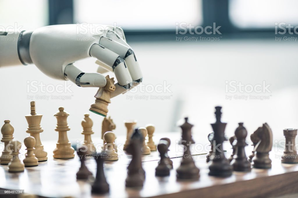 close-up view of robot playing chess, selective focus stock photo