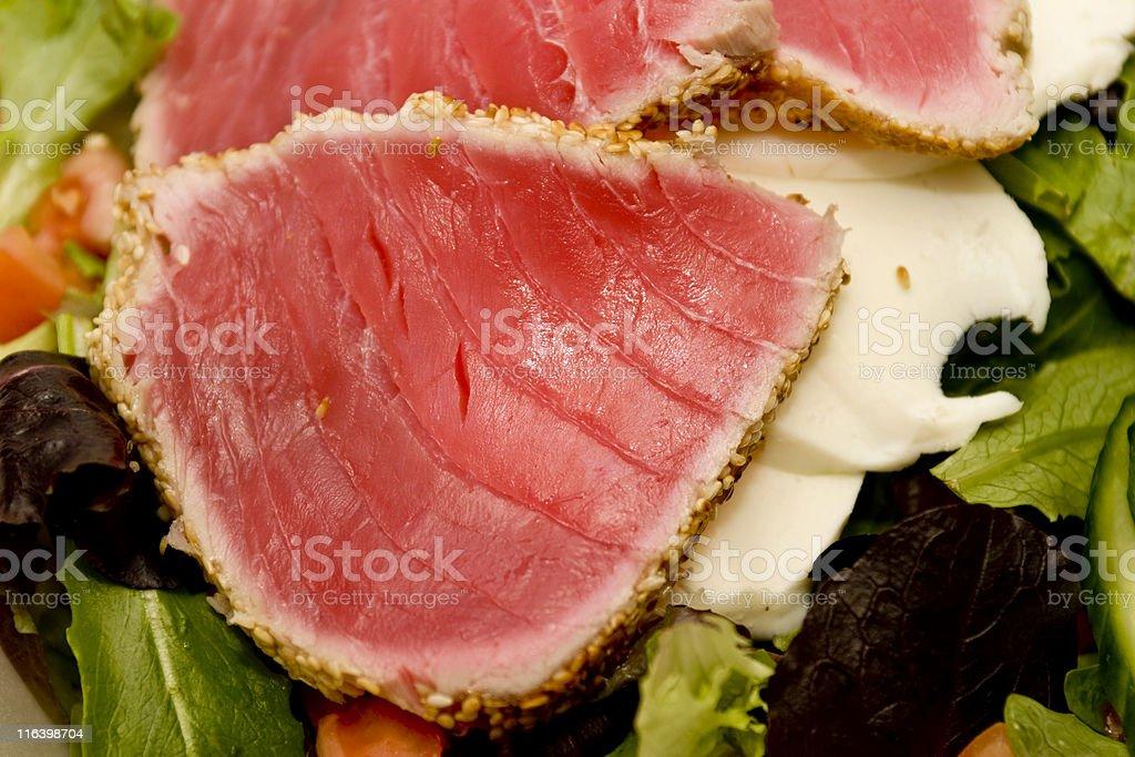 Close-up view of Seared Ahi Tuna Salad royalty-free stock photo