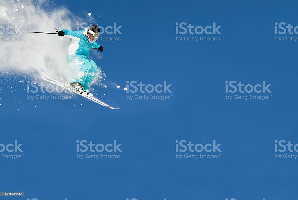 Close-up view of ski jump against clear blue sky royalty-free stock photo