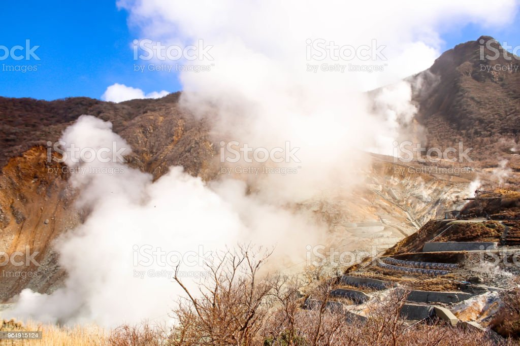Closeup View of Smoke in mountain at owakudani Smoke coming out of Hakone, Japan royalty-free stock photo