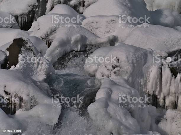 Photo of Close-up view of the bottom of beautiful Öxarárfoss cascade in rocky Almannagjá canyon in Þingvellir national park, part of Golden Circle, Iceland, in winter season with snow and icicles.