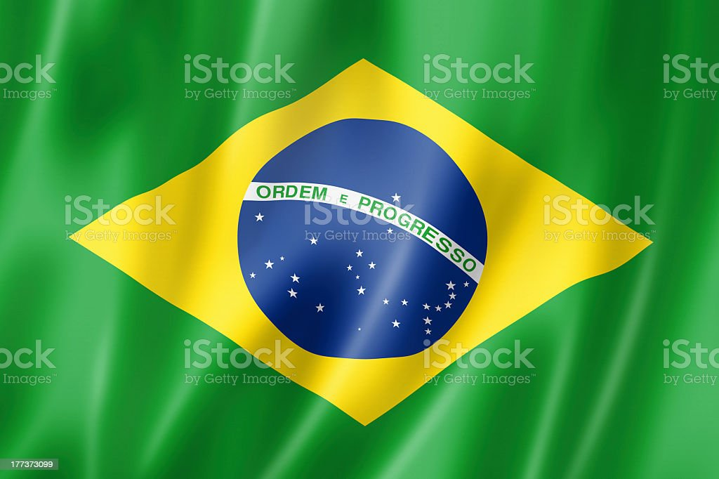 Close-up view of the Brazilian flag stock photo