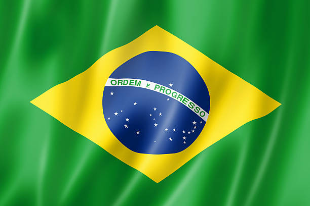 close-up view of the brazilian flag - brasilien flagga bildbanksfoton och bilder
