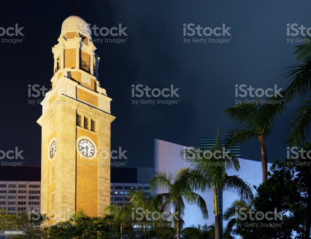 Closeup view of the Clock Tower in Hong Kong at evening royalty-free stock photo