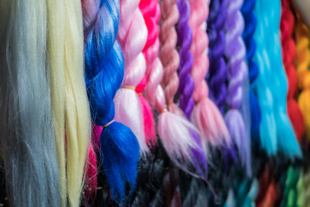 Close-up view of the colorful artificial braiding hairs stock photo