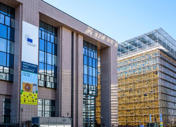 Vue rapprochée du bâtiment Justus Lipsius (à gauche) et du bâtiment Europa (à droite) à Bruxelles, Belgique. - Photo