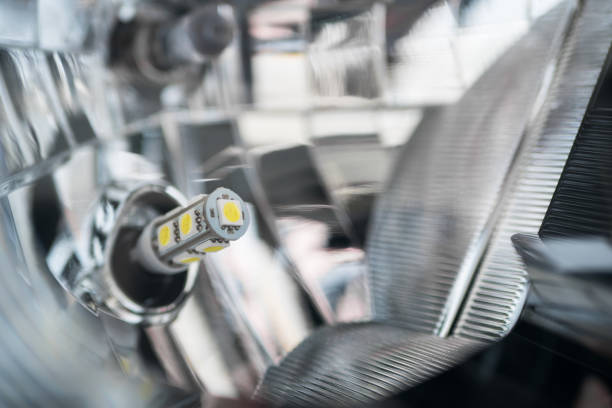 Close-up view of the LED Light Car Headlight. stock photo