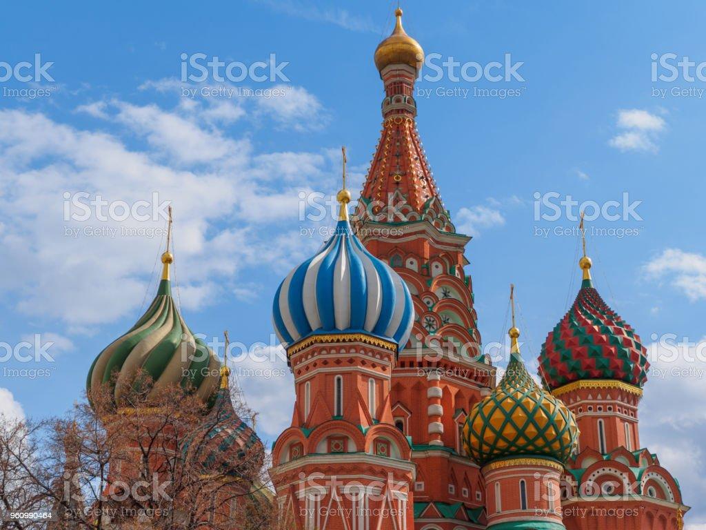 Detailansicht der Basilius Kathedrale auf dem Roten Platz, Moskau, Russland. - Lizenzfrei Alt Stock-Foto