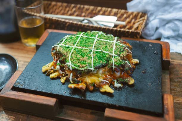 Close-up view of the typical Japanese okonomiyaki stock photo