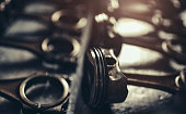 istock Close-up view of V10 engine pistons 1141777869