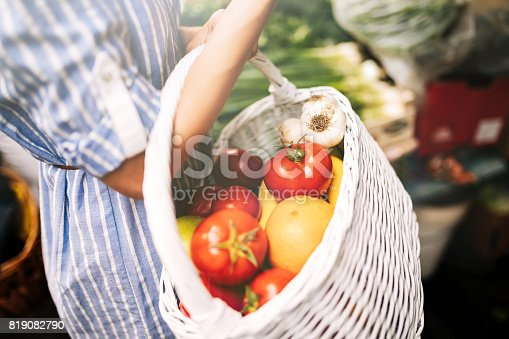 istock Close-up view of woman's basket full of groceries 819082790