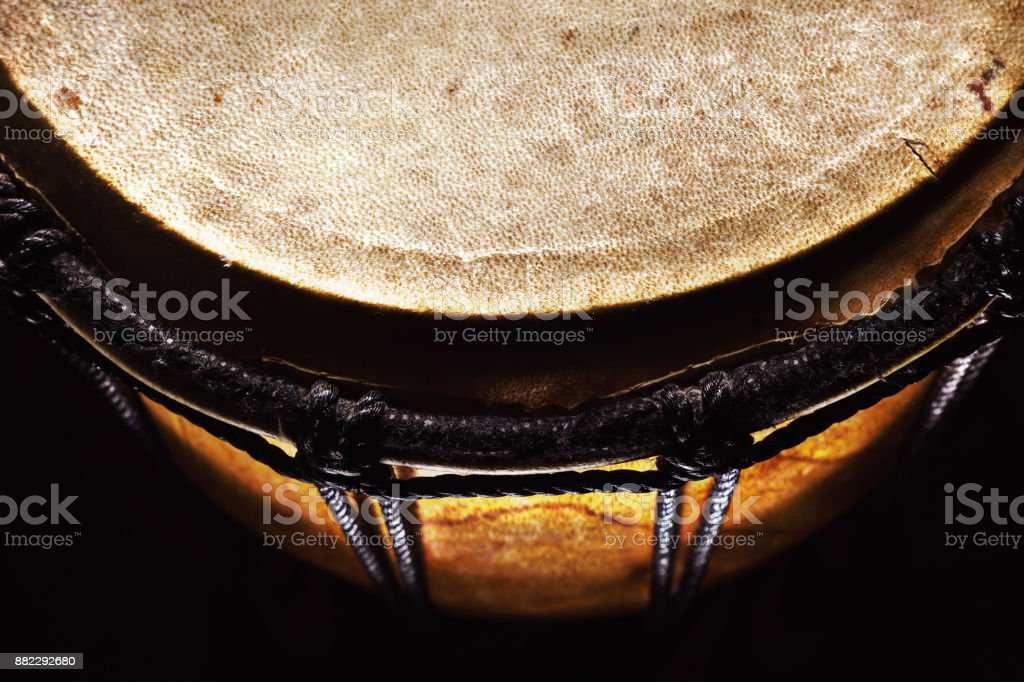 Closeup View on Old Djembe stock photo