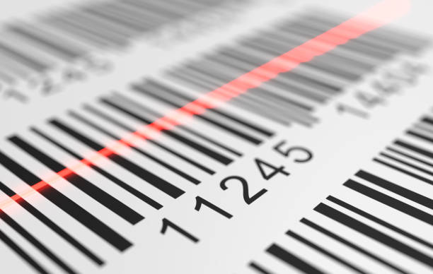 Close-up view on red laser is scanning label with barcode on product. 3D rendered illustration. stock photo