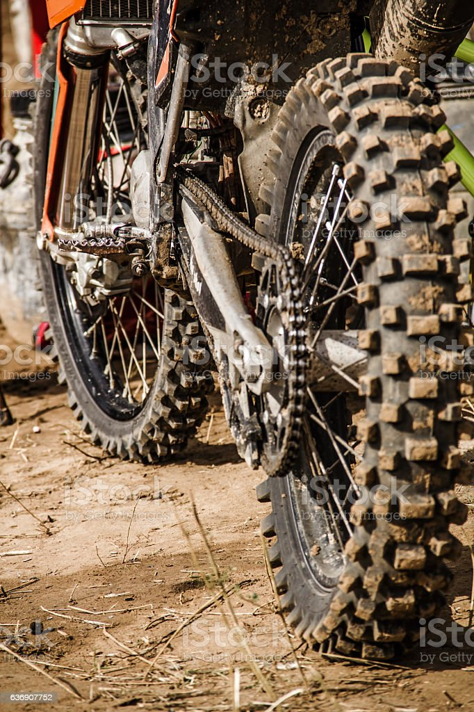 Close-up view to the motocross bike stock photo